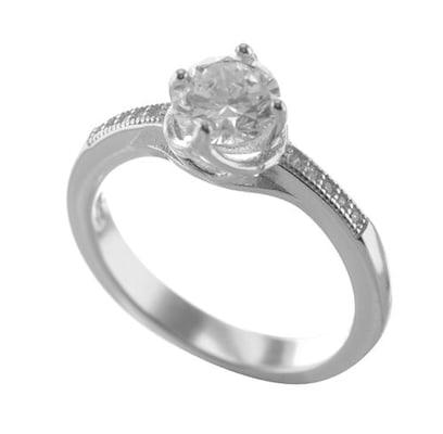 Μονόπετρο Δαχτυλίδι Από Ασήμι Με Πέτρες Ζιργκόν 096081daa90