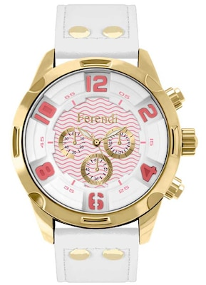 Ferendi Eternia Gold White Leather Strap 4040-51