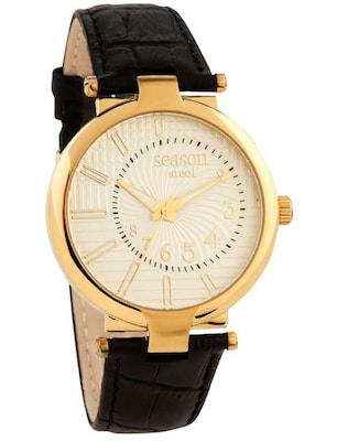 Season Time Andresa Gold Black Leather Strap 631-4