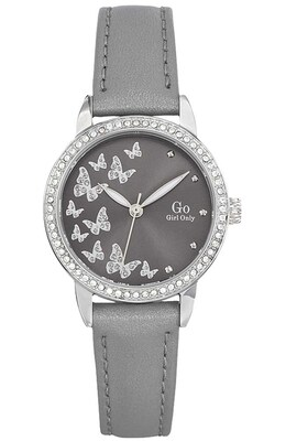 Go Girl Only Crystals Grey Leather Strap 698604