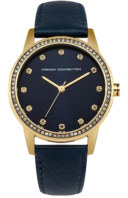 French Connection Crystals Gold Blue Leather Strap Fc1251u