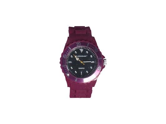 Dunlop Ρολόι Trendy Unisex Ελβετικός Μηχανισμός Quartz Λουράκι Από Σιλικόνη  Βυσσινή Με Λευκές ασημί afac7537466