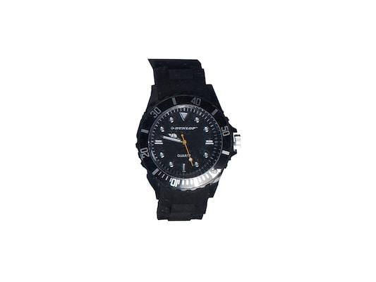90f6dd49081b Dunlop Ρολόι Trendy Unisex Ελβετικός Μηχανισμός Quartz Λουράκι Από Σιλικόνη  Μαύρο Με Λευκές ασημί Εν