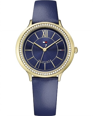 Τοmmy Hilfiger Candice Crystals Blue Leather Strap