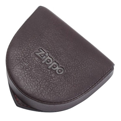 Leather Coin Zip Pouch Brown