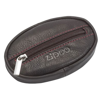 b01815ef0b Oval Leather Coin Zip Pouch Mocha