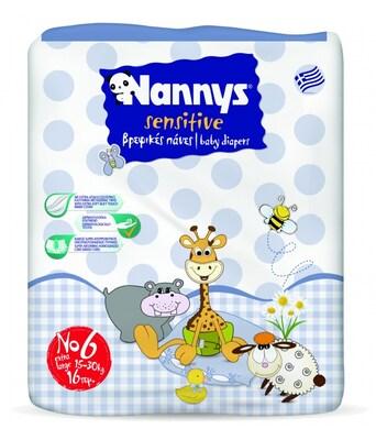 Νο 6  Nannys Sensitive Παιδικές Πάνες 15-30  Κιλά , 16 Pc