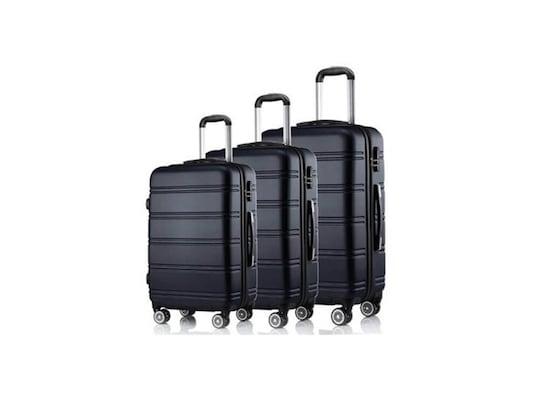 0b4ea4b763 Hoffmanns Σετ 3 Βαλίτσες Ταξιδιού Καμπίνας Με Τηλεσκοπικό Χερούλι Και  Ροδάκια Σε Μαύρο Χρώμα