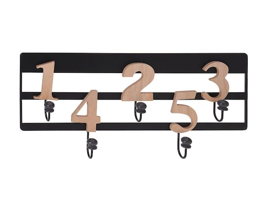 ae6d012767d1 Κρεμάστρα Τοίχου Μεταλλική Και Ξύλινους Αριθμούς Με 5 Γάντζους