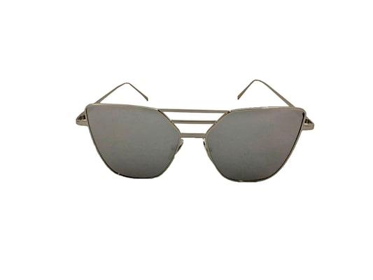 f2c12f8456 Γυναικεία Γυαλιά Ηλίου Καθρέφτης Flat Top Sunglasses Με Ασημί Μεταλλικό  Σκελετό Και Ασημί Φακό