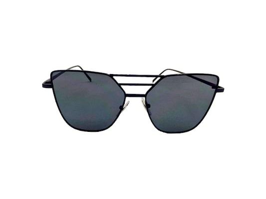 8d299e299e Γυναικεία Γυαλιά Ηλίου Καθρέφτης Flat Top Sunglasses Με Μαύρο Μεταλλικό  Σκελετό Και Μαύρο Φακό