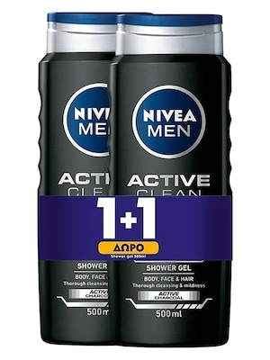 Nivea Men Active Clean Shower Gel 2x500ml