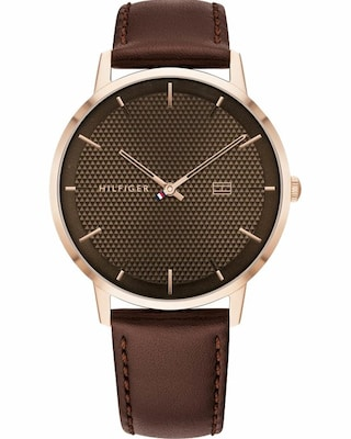 Τοmmy Hilfiger Mens Brown Leather Strap