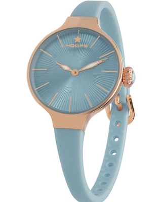 Hoops Nouveau Cherie Gold Light Blue Rubber Strap