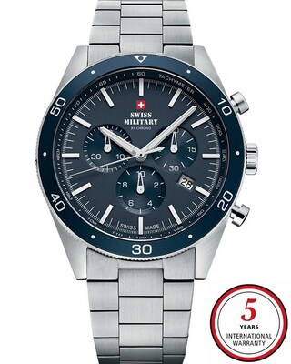 Swiss Military By Chrono Chronograph Silver Stainless Steel Bracelet