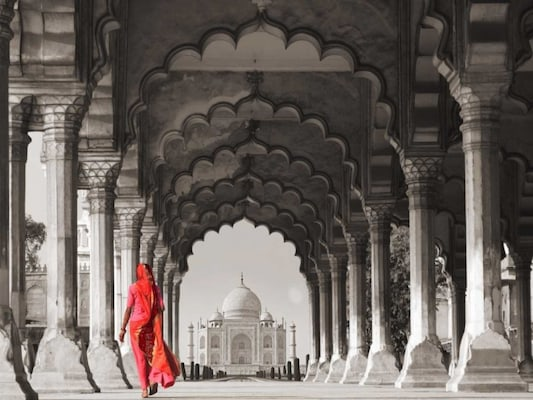 Woman In Traditional Sari Walking Towards Taj Mahal - Pangea Images
