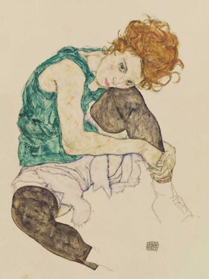 Seated Woman With Bent Knee  - Schiele, Egon