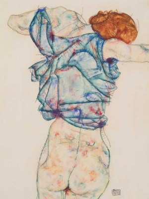 Woman Undressing - Schiele, Egon