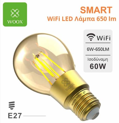 Woox Wifi Smart Led Filament - Retro Λαμπα E27 6w 650 Lm - R9078