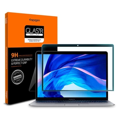 Tempered Glass Macbook Air 13'' 2018-2020 Black Spigen Glass Fc Spigen Agl00083