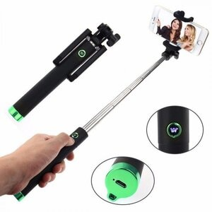 Selfie Stick Bluetooth Button 80cm - Oem - Πράσινο - Bluetooth