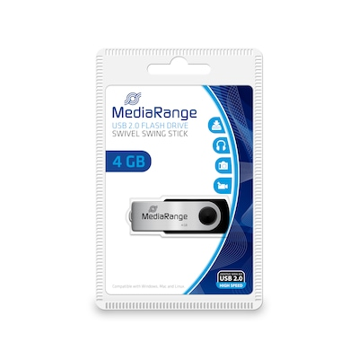 Mediarange Mr907 Usb Flash Drive 4 Gb Usb Type-a / Micro-usb 2.0 Black,silver