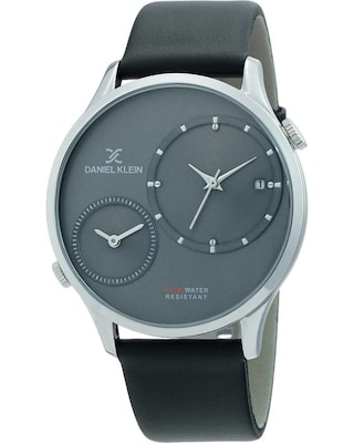 Daniel Klein Dual Time Black Leather Strap