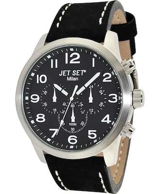 Ρολόι Jet Set Milan Chronograph Black Leather Strap
