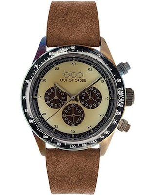 Ρολόι Out Of Order Cronografo Brown Leather Strap