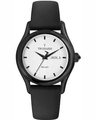 Trussardi T-light Black Leather Strap Gift Set
