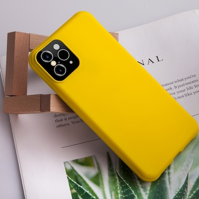 For Iphone Xsx Creative Solid Color Liquid Silicone Case (yellow)