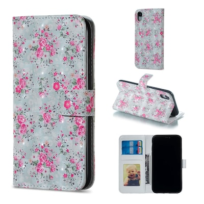 Rose Pattern Horizontal Flip Leather Case For Iphone Xr, With Holder - Card Slots - Photo Frame - W