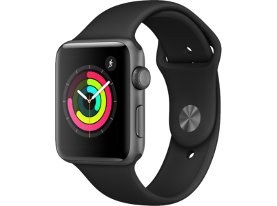 Apple Watch Series 3 38mm Aluminum Space Gray Sport Band Black (2018)