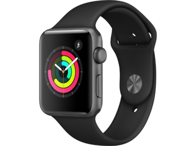 Apple Watch Series 3 42mm Aluminum Space Gray Sport Band Black (2018)