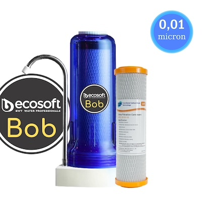 Φίλτρο Nερού Άνω Πάγκου Ecosoft Bob (Ocean) 10 inch Με Ανταλλακτικό Φίλτρο PURE UFC 2510-10 10μm Και Μεμβράνη 0,01μm