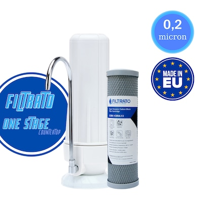 Φίλτρο Νερού Άνω Πάγκου FILTRATO CHF14-EU Λευκό 10 inch Με Ανταλλακτικό Φίλτρο Ενεργού Άνθρακα FILTRATO CCBC-CERA10 0,2μm